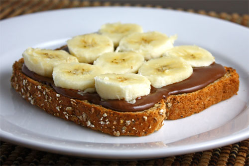 Banana and Nutella Sandwich, before adding strawberries.