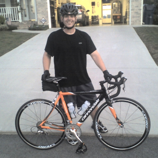 My husband, Bill, and his new toy.
