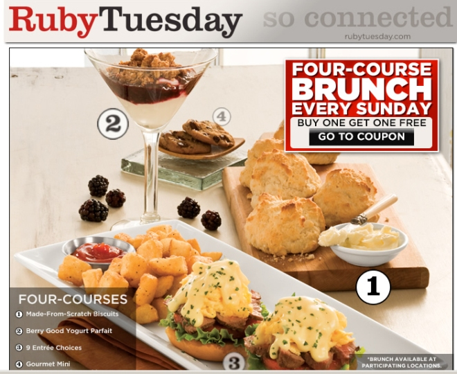Ruby Tuesday Four-Course Brunch