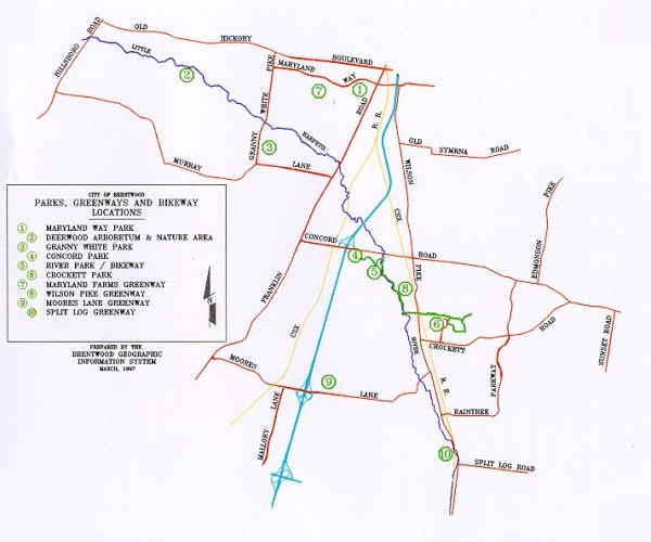Brentwood, TN Trail Maps